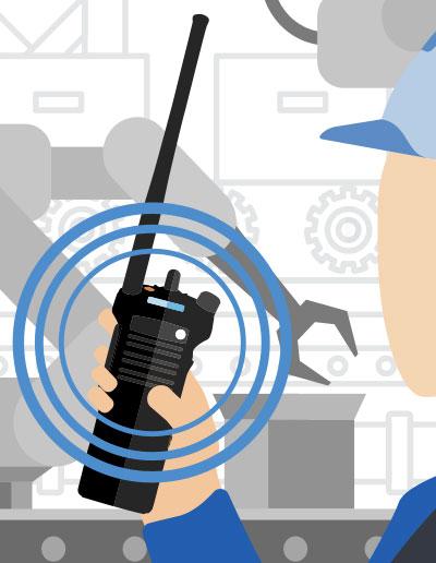 illustration of man using handheld radio